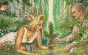 paar und pflanzen setzen