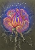 Feuer-Blüte im Grau