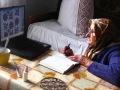 Russland Frau Komputer handarbeit