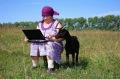 Frau Ziege Laptop. Russland jpg