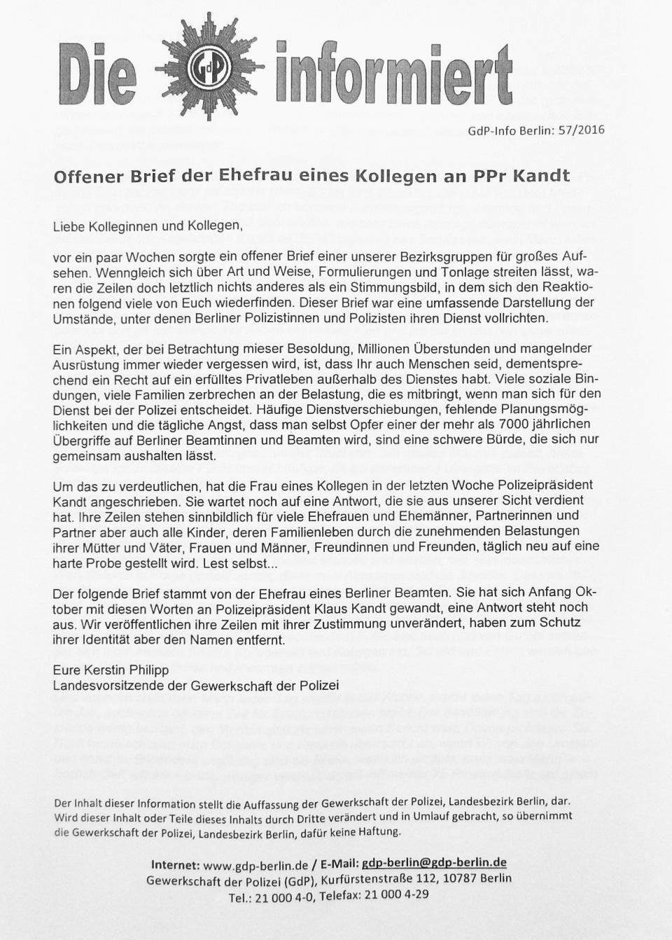 Brief Polizeigattin