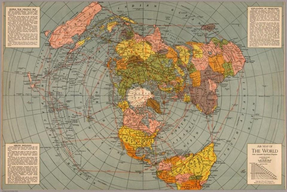 1943 Flat Earth Map. World war stratgy map